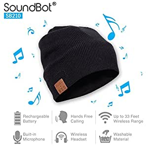 Soundbot SB210 HD Stereo Bluetooth 4.1 Wireless Smart Beanie Headset Musical Knit Headphone Speaker Hat Speakerphone Cap,built-in Mic (BLK)