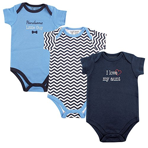 Luvable Friends Baby Sayings Bodysuit 3pk, Boy Aunt, 0-3 Months (Infant Clothes Aunt)