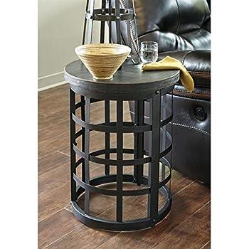 Ashley Furniture Signature Design   Marimon End Table   Accent Side Table    Round   Black