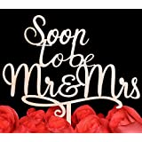 LOVENJOY with Gift Box Soon To Be Mr and Mrs Monogram Rustic Wood Wedding Engagement Cake Topper (5.9-inch)