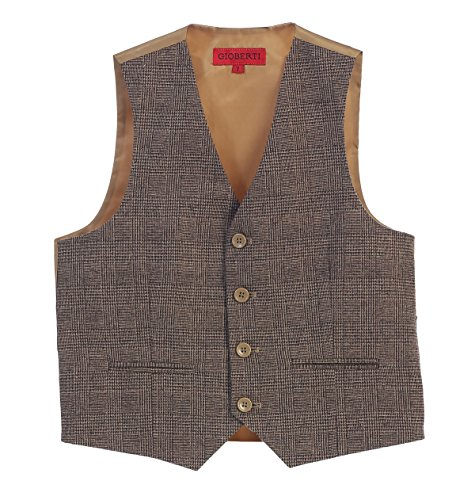 (Gioberti Boy's Tweed Plaid Formal Suit Vest, Brown, Size 20)