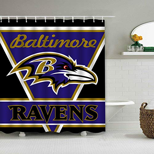Sorcerer Custom Colourful Baltimore Ravens American Tootball Team Shower Curtain Polyester Waterproof Proof for Bathroom Decoration Set with Hooks 66x72 Inches - Bathroom Curtain Shower Team