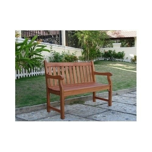 This henley 2 seat loveseat eucalyptus outdoor wood bench is the perfect furniture piece to - Garden bench ideas complete piece heaven ...