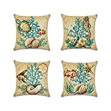 Anna Supermarket 4 Pack Ocean Theme Mediterranean style Cotton Linen Square Decorative Throw Pillow Case Cushion Cover Starfish,Sea Horse,Shell&Conches 18'' X 18'' (Set Two)