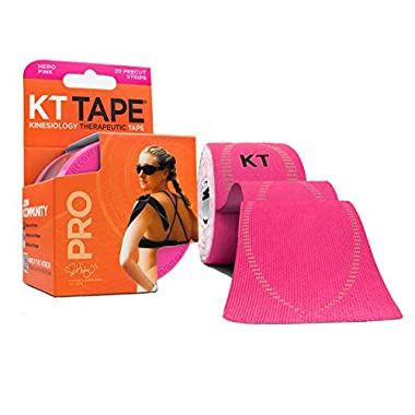 KT TAPE PRO Synthetic Elastic Kinesiology 20 Pre-Cut 10-Inch Strips Therapeutic Tape, Hero Pink