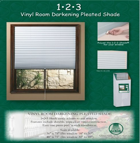 Achim ''1-2-3 Shade'' Vinyl Room Darkening Temporary Pleated Shades 36'' Wide X 75'' Long (6 Pack)