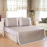 Qbedding Rattan Cooling Summer Sleeping Pad Mattress Topper & Pillow Shams Set, Full/Double, Glacial