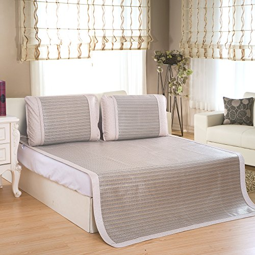 Qbedding Rattan Cooling Summer Sleeping Pad Mattress Topper & Pillow Shams Set, Full/Double, Glacial