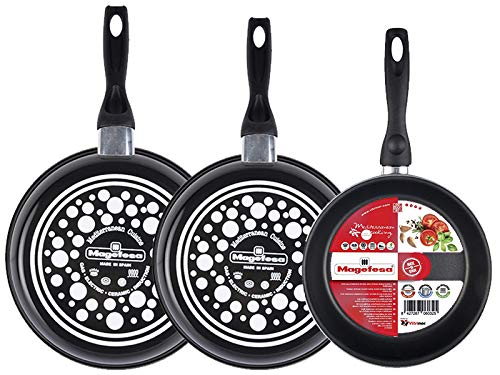 Magefesa Black Set of 3 Frying Pans 24 26 28 Made from vitrified steel. Non-Stick Double Layer Reinforced Stone, Black Exterior Suitable for all types of enamelled -