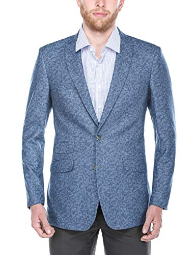 Chama Men's Two Button Classic Fit & Slim Fit Sport Coat Wool Blazer (Blue, - Sport Classic Coat Wool