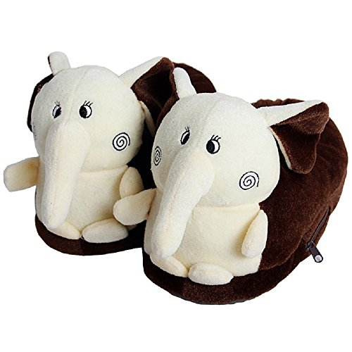 Schön Elefant Unisex Kind Erwachsene Weich Plüsch Hausschuhe für Zuhause Winter Warm Fußschützer, Größe 39 Braun