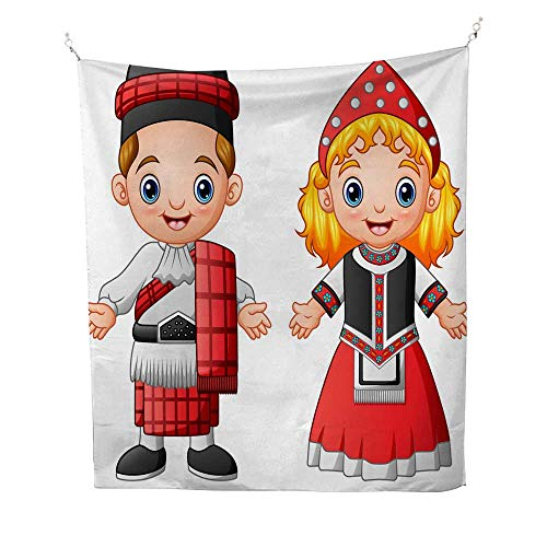 25 Home Decor Mandela Tapestries Cartoon Scottish Couple Wearing Traditional Costumes Gray Tapestries 51W x 60L INCH -