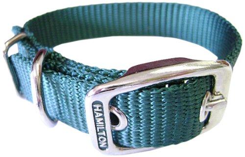 Hamilton 5/8-Inch by 12-Inch Single Thick Nylon Deluxe Dog Collar, Dark Green
