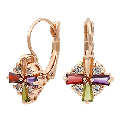 - Kemstone Colorful Cubic Zirconia Leverback Dangle Earrings Rose Gold Plated Jewelry for Women