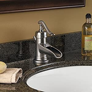 "Pfister LFM42YPKK Ashfield Single Control 4"" Centerset Bathroom Faucet in Brushed Nickel, Water-Efficient Model"