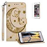 Funyee Magnetic Flip Case for iPhone 7 Plus/8 Plus [Free Screen Protector],Luxury Moon Embossed Pattern PU Leather Soft Wallet Case [Built-in Credit Card Slots] for iPhone 7 Plus/8 Plus,Yellow
