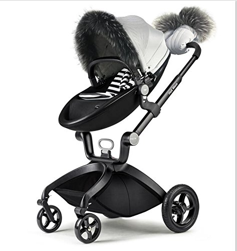 Hot Mom Stroller Winter Kit Winter Protection,Pushchair Gloves, Foot Muff, rain Visor, Artifical Fur Trim Protection Cover for The Winter Wind, Bag and footmuff