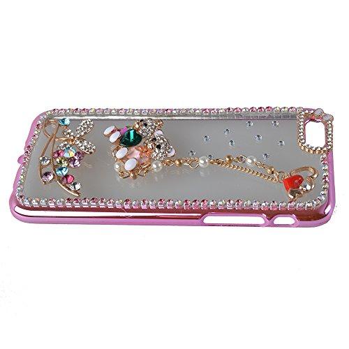 EVTECH (TM) für Iphone 6 4.7 3D Handmade Fashion Kristallrhinestone Bling Fall-Abdeckung Hard Case Clear (100% Handarbeit)