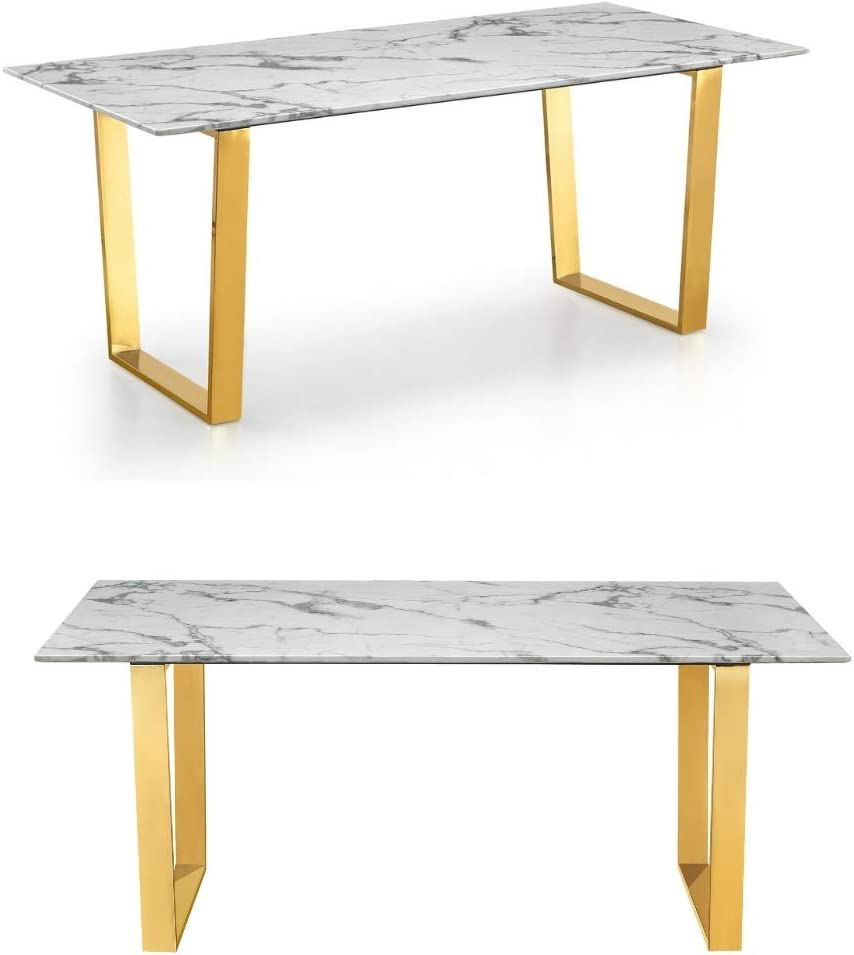 Plata Import Daz Faux Dining Table 63 In Gold With Faux Marble Top In White Rectangle Dining Table Amazon Ca Home Kitchen