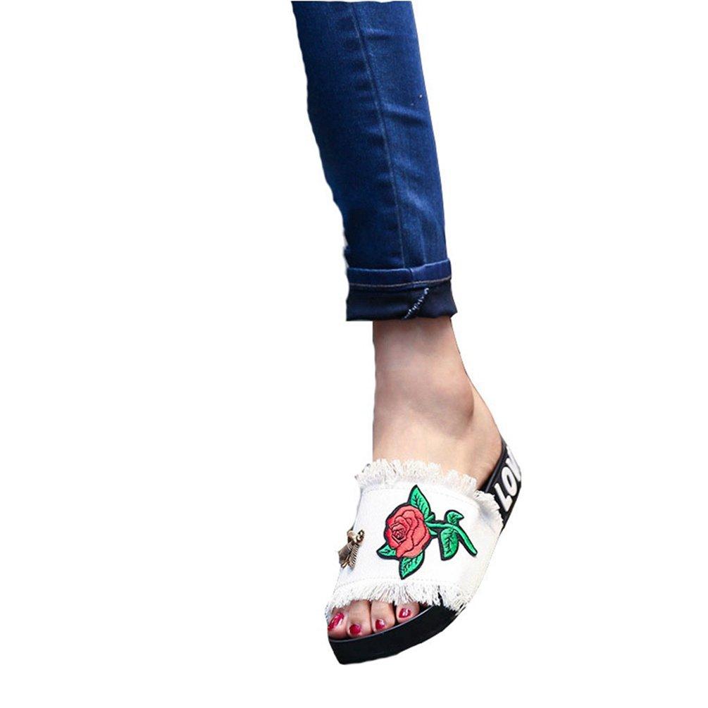 JITIAN Womens Girls Jeans Pantoufles B01CF5G9K2 Main Broderies Fleurs Fleurs Plates Sandales Sandales - fe89886 - shopssong.space