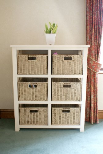 Somerset 6 Drawer Storage Unit With Removable Wicker Baskets In Cream  Finish (2nd Edition With Bigger Baskets)   Ideal For Providing Excellent  Storage Space ...