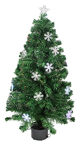 Northlight  Pre-Lit Color Changing Fiber Optic Christmas Tree with Snowflakes, 4' (Optic Tree 4ft Fibre Christmas)