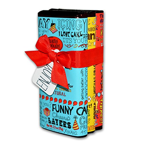 Gourmet Chocolate Truffles (Seattle Chocolate Candy Bars Gift Set- All Natural, Non GMO, Gluten Free, Kosher Certified- 2.5 Ounce Dark & White Milk Chocolate Truffle Bars - Fun Doodles & Festive Phrases Wrapping-)