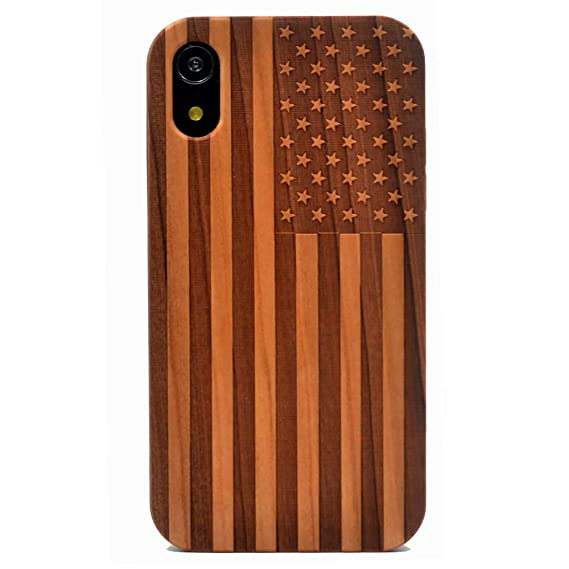 buy popular d4b6f 171d8 iPhone XR Case, Wood Case American Flag US Handmade Carving Real Wood Case  Wooden Case Cover with Soft TPU Back for Apple iPhone XR (2018)