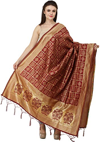 - Exotic India Bandhani Tie-Dye Gharchola Dupatta with Zari Weave and Brocaded Border - Color Deep Claret