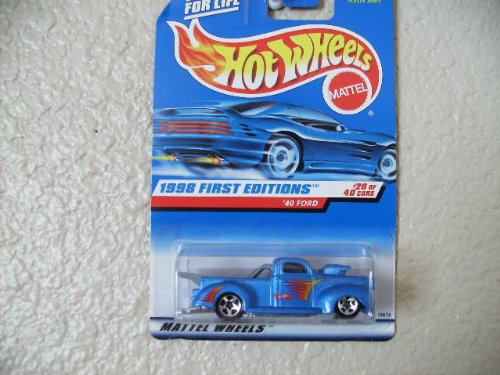 Car Blue Diecast Metallic (Hot Wheels - 1998 First Editions - 1940 Ford Pickup - Die Cast - #20 of 40 Cars - Blue Metallic Paint - Collector #654 - Limited Edition - Collectible 1:64 Scale)