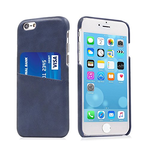 Buruis iPhone 6/6S Ultra Slim Card Case, Premium PU Leather Wallet Case - Protective Back Case Cover with ID Credit Card Slot Holder for Apple iPhone 6/6S- 4.7 Inch (Blue Back Case)