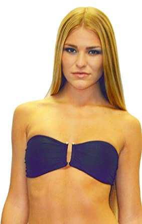 2afb2685ac Image Unavailable. Image not available for. Color: cm Swimwear Padded Bandeau  Bikini Top with Gold Ring ...