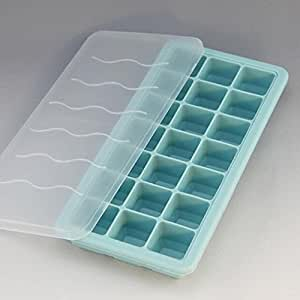 Shenlu - Bandejas de silicona para cubitos de hielo con tapa de plástico, 21 cubos, moldes de bandeja para cubitos de hielo, mejor para niños con pasta de caramelo, jalea, zumo, agua, chocolate o cócteles y otras bebidas