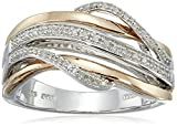 14K Rose Gold over Sterling Silver Diamond Crossover Fashion Ring (1/10 cttw), Size 7