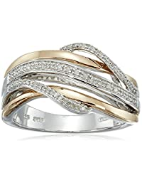 14k Rose Gold Plated Sterling Silver Diamond Bridge Ring (1/10cttw, IJ Color, I2-I3 Clarity)