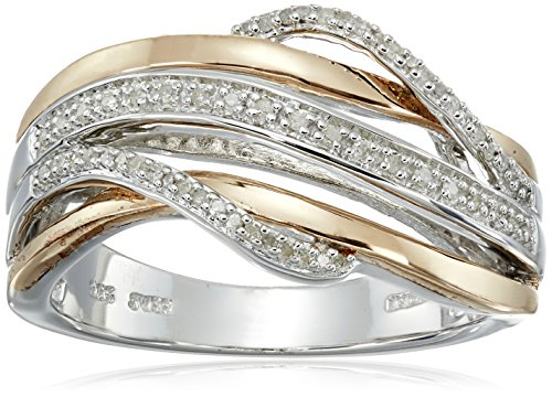 - 14K Rose Gold over Sterling Silver Diamond Crossover Fashion Ring (1/10 cttw), Size 7