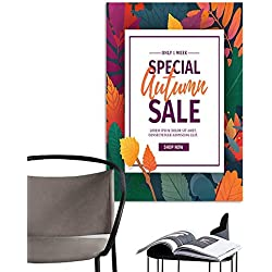 UHOO Canvas Wall Art Painting Template Design Banner for Autumn Season Poster for Special Fall Sale with Flower and herb Autumnal Leaf Decoration Layout for Offer on Natural Floral