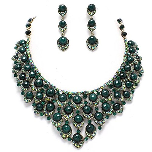 AB CRYSTAL GOLD DARK GREEN PEARL EVENING BIB COCKTAIL PARTY NECKLACE EARRING SET Brighton Bay (Party Shops Brighton)