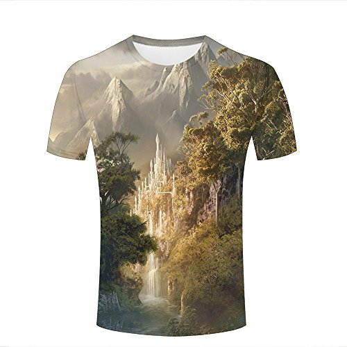 Mens 3D Printed Graphic ice Castle in The Forest Short Sleeve T Shirts Summer Casual Cool Top Tees - Fc Barcelona Shirt Original