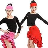Moyuqi Girls Kids Dress Latin Salsa Dancewear Ballroom Dance Costumes Top&Hemming Skirt (Red, 160cm)