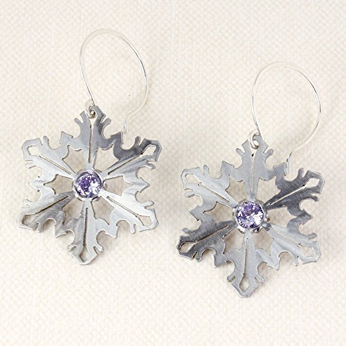 Snowflake Earrings, Stainless Steel with Lavender Cubic Zirconia, Sterling Earwires