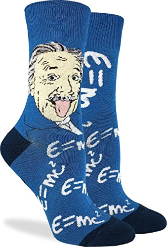 Good Luck Sock Womens Albert Einstein Socks - Blue, Adult Shoe Size 5-9