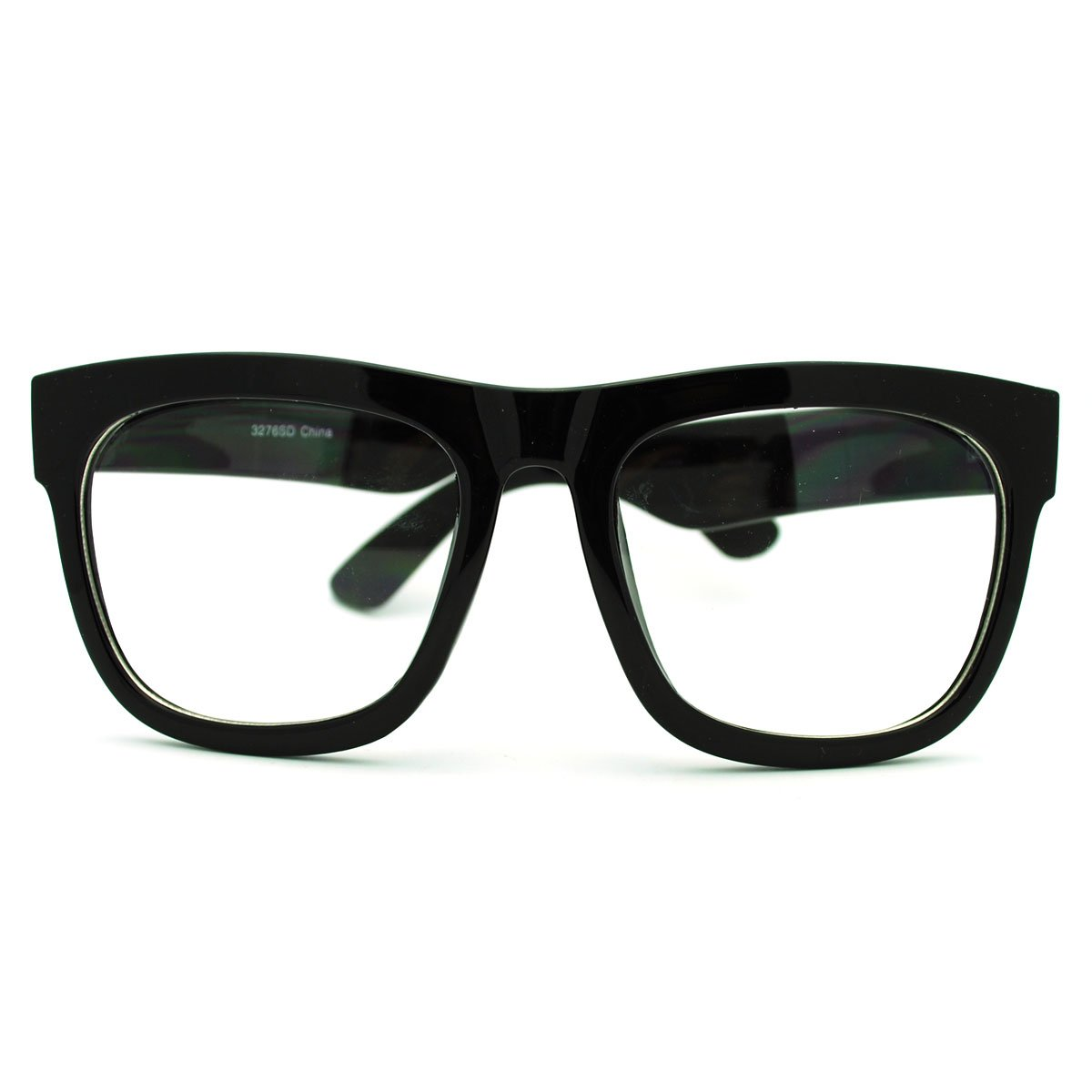 a1211f1a6ac Amazon.com  Black Oversized Square Glasses Thick Horn Rim Clear Lens Frame   Clothing