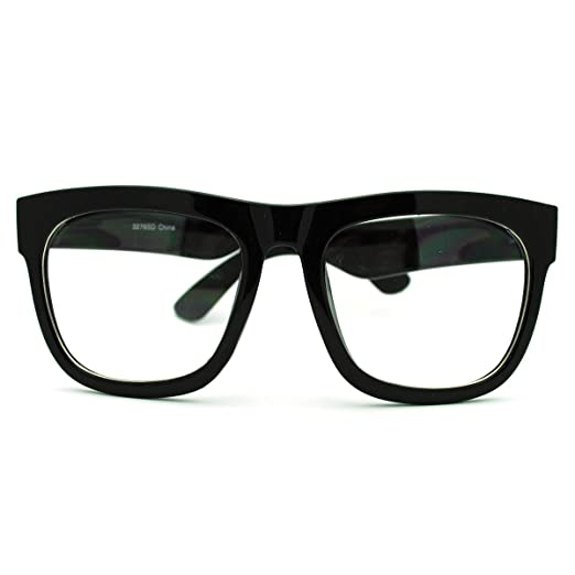 1504c5cee38 Amazon.com  Oversized Square Glasses Nerdy Clear Lens Mens Womens ...