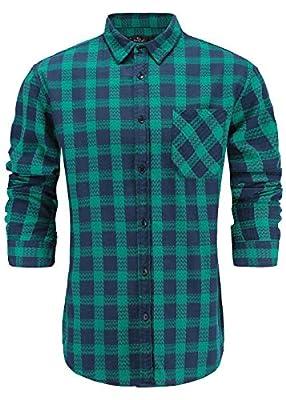 Emiqude Men's Slim Fit 100% Cotton Casual Long Sleeve Wave Plaid Dress Shirt