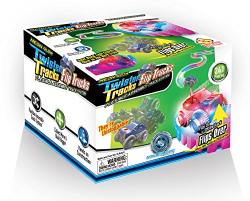 Mindscope Neon Glow in the Dark Twister Tracks Trax FLIP TRUCKS Flexible Assembly Track System w/12 feet of Track (Track For Trucks)