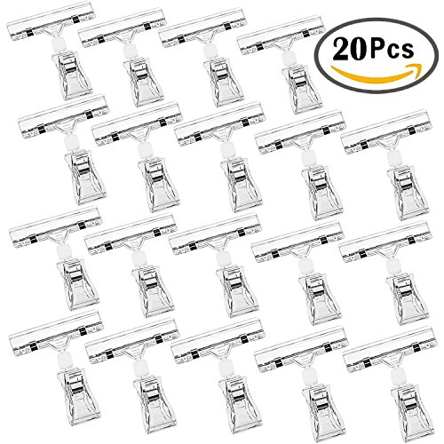 Sign Clips, Outee 20PCS Merchandise Sign Clips Display Clip on Sign Holder Stand, Rotatable Clear POP Clip on Sign Holders