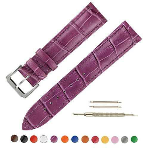 OWNITOW Leather Watch Band - Choice of Color & Width (16mm,18mm,20mm,22mm or24mm) Premium Genuine Cowhide Replacement Watch Strap for Men and (Purple Leather Watch)