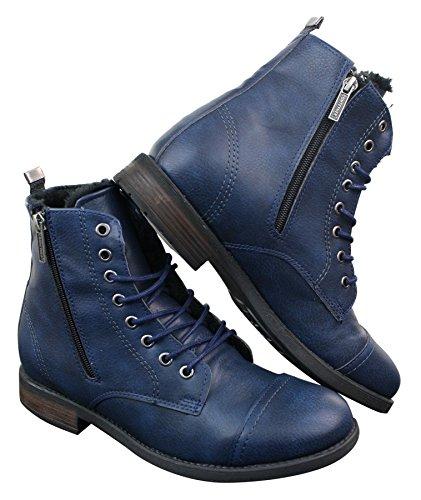 Tamboga Herrenstiefel Hiking Combat Design Blau Braun Boots Winter Warm Marineblau