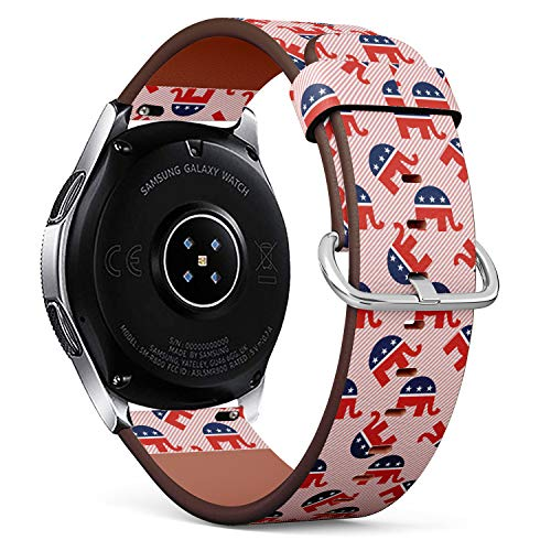 S-Type Replacement Leather Strap Printing Wristbands Compatible with Samsung Galaxy Watch 42mm 46mm Watch Band - Republican Elephants Pattern on red Stripes